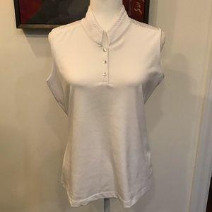 Tail White Sleeveless Golf Shirt Size Large